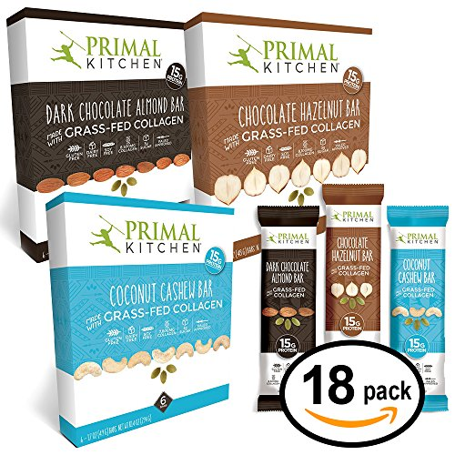 Primal Kitchen †Coconut Cashew, Dark Chocolate and Hazelnut Protein Bars, Variety 3 Pack †Made with Grassâ€Fed Collagen (Protein), Hazelnuts & Organic Fairâ€Trade Cocoa (18 Bars To
