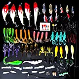 WALLER PAA Lot 100 pcs Kinds of Fishing Lures Crankbaits Hooks Minnow Bass Baits Tackle+Box