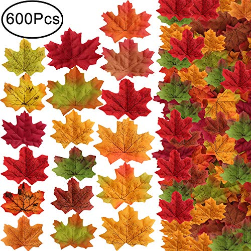 Outee 600 Pcs Artificial Maple Leaves Autumn Assorted Mixed Fall Colored for Wedding Events Table Party Decoration for Thanksgiving Day