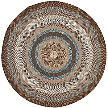 Safavieh Braided Collection BRD313A Hand Woven Brown and Multi Round Area Rug (4 Diameter)