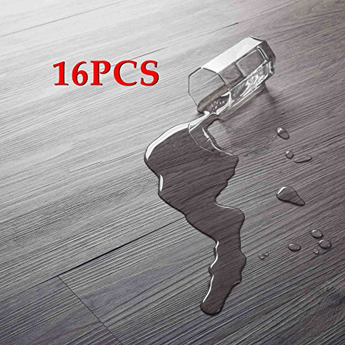 16 PCS 24 Square Feet, CO-Z Odorless Vinyl Floor Planks Adhesive Floor Tiles 2.0mm Thick, Environmental-Friendly (Grey) (Temporary Flooring)