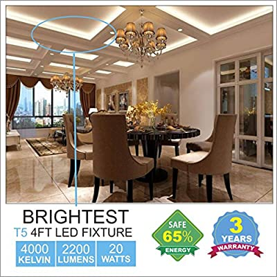 (Pack of 6) Barrina LED T5 Integrated Single Fixture, 4FT, 2200lm, 4000K (Daylight Glow), 20W, Utility Shop Light, Ceiling and Under Cabinet Light, Corded electric with built-in ON/OFF switch