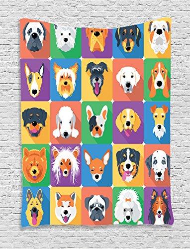 Ambesonne Dog Tapestry, Dog Breeds Profiles Pets Shepherd Terrier Labrador Domestic Animals Illustration, Wall Hanging for Bedroom Living Room Dorm Decor, 40