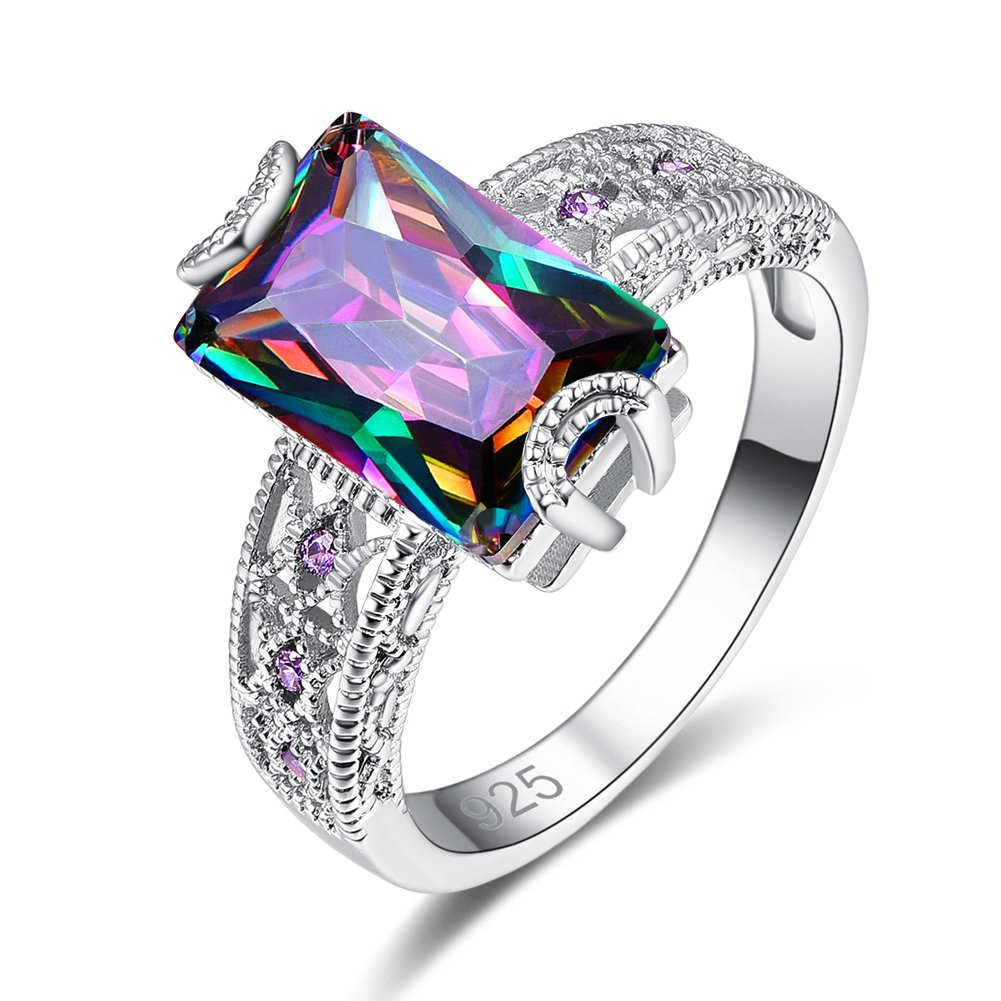 Psiroy 925 Sterling Silver Created Rainbow Topaz Filled Anniversary Ring for Women