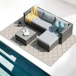 Patiorama 5 Piece Outdoor Patio Furniture Set, Outdoor Sectional Conversation Set, All-Weather Grey PE Wicker w/Light Grey Cushions, Outdoor Backyard Porch Garden Poolside Balcony Furniture Set