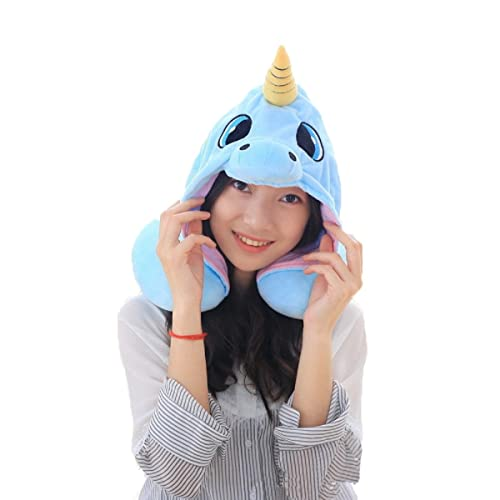Unicorn U Pillow,Flyfish Travel Neck Pillow Microbead Polyester Neck Pillow Support Cushion Unicorn Hoodie Funny Gifts for Children Women (Blue)