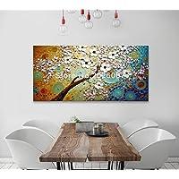 Orlco arte dipinta a mano Originale albero bianco fiore dipinto su tela olio acrilico spatola strutturato pronto mano Impressionista pittura a olio su tela olio pittura colorata