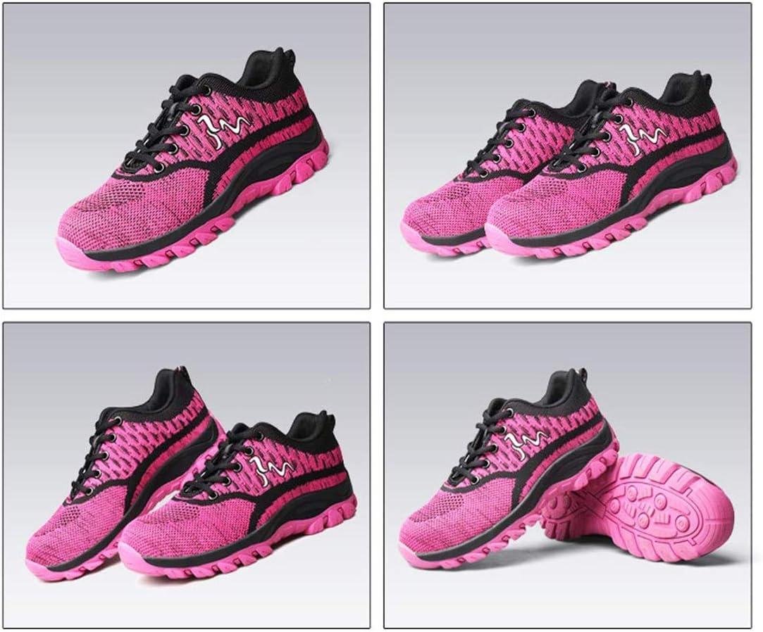 JIEFU Zapatillas de Seguridad Mujer Ligeros S3 Calzado de Seguridad con Punta de Acero Deportivo Antideslizante Zapatos de Trabajo
