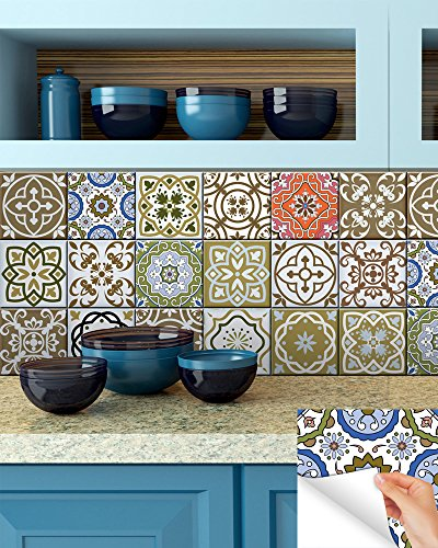 Tile Stickers 24 PC Set Authentic Traditional Talavera Tiles Stickersl Bathroom & Kitchen Tile Decals Easy to Apply Just Peel & Stick Home Decor 6x6 Inch (Splashback tile stickers)