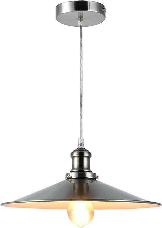 [lux.pro] Luminaire Suspendu Plafonnier Lampe à Suspension Acier Inoxidable E27 Diamètre L'abat jour 36 cm Argent et Blanc