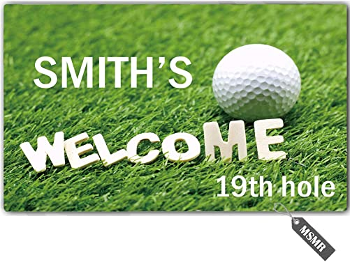 MsMr Personalized Your Name Door Mat Welcome Golf Door Mat Indoor Outdoor Decorative Doormat Custom Doormat Home Office Welcome Mat 30 x 18