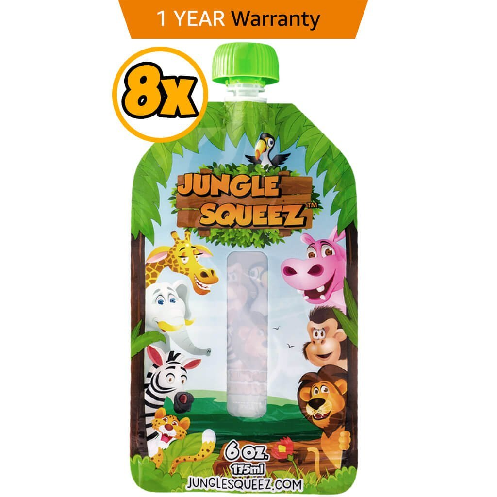 Reusable Food Pouches - 1 Year Warranty 8 Pouches with 2 Extra Caps - for Applesauce, Smoothie and Yogurt - Squeeze Station Compatible JUNGLE SQUEEZ