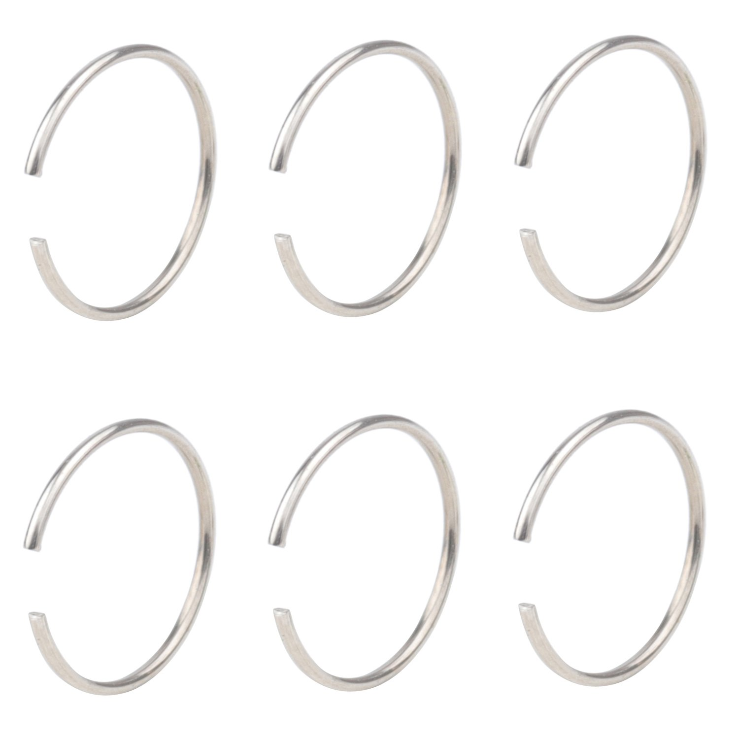 DRW 6pcs 22G Stainless Steel Non-Piercing Fake Clip on Closure Earrings Round Helix Cartilage Tragus Nose Lip Ear Hoop 8mm