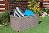 Plastic Garden Storage Box with Sit on Lid Cushion Box Outdoor Storage Wicker Deck Box Rattan Design - Color Brown