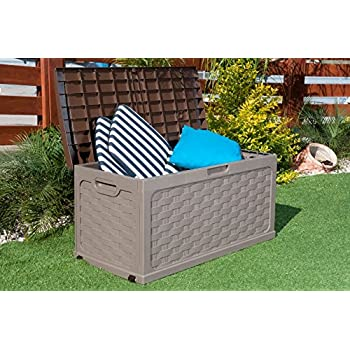 Amazon Com Plastic Garden Storage Box With Sit On Lid