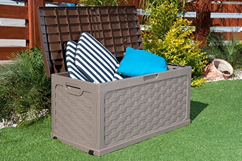 Plastic Garden Storage Box with Sit on Lid Cushion Box Outdoor Storage Wicker Deck Box Rattan Design - Color Brown by Starplast