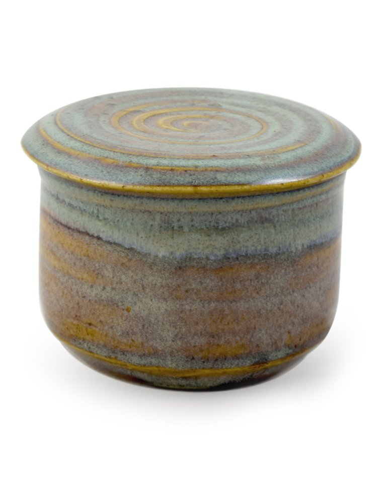 American Handmade Stoneware Pottery French Butter Keeper Crock (Sea Oats) by Modern Artisans (Image #1)