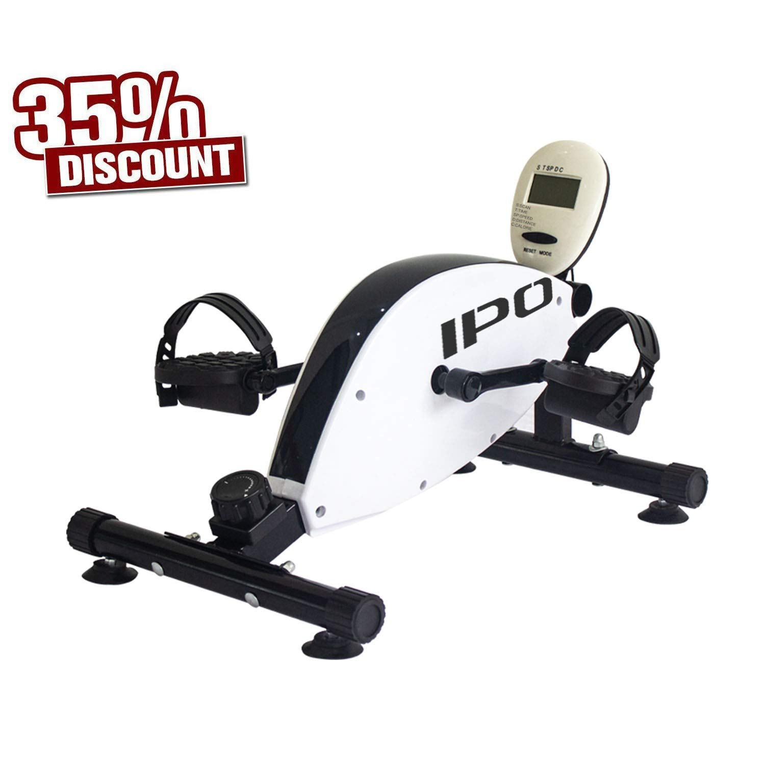 IPO Pedal Exerciser Mini Cycle Bike Under Desk Bike Pedal Exerciser Exercise Bike Mini Exercise Bike Under Desk Peddler Desk with Electronic Display and Handle White