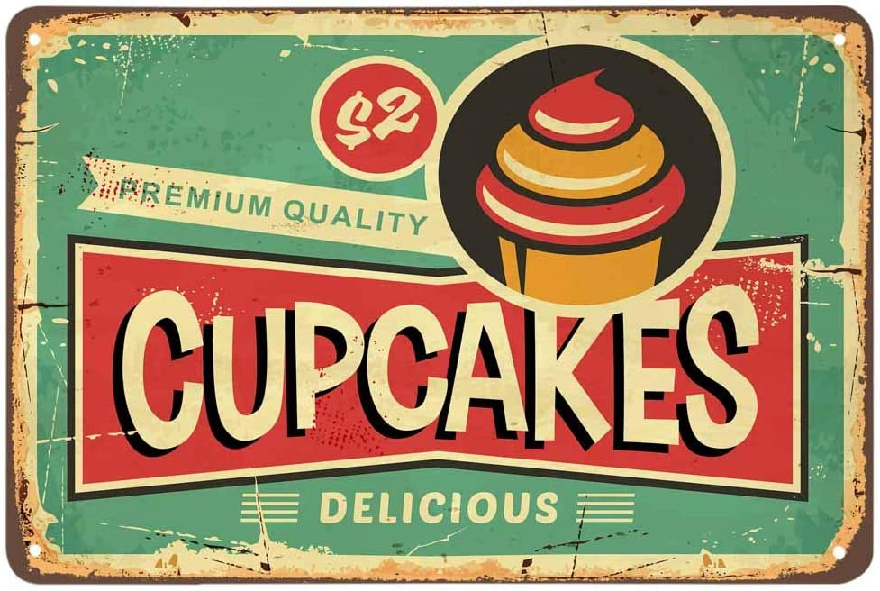 AOYEGO Cupcake Tin Sign,Cream Food Delicious Dessert Vintage Metal Tin Signs for Cafes Bars Pubs Shop Wall Decorative Funny Retro Signs for Men Women 8x12 Inch