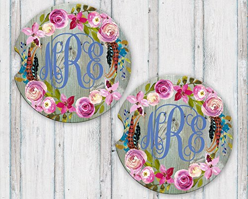 Personalized Monogram Sandstone Car Coasters Boho Floral Wreath Green Barn Wood Background Set of (Reclaimed License Plate)