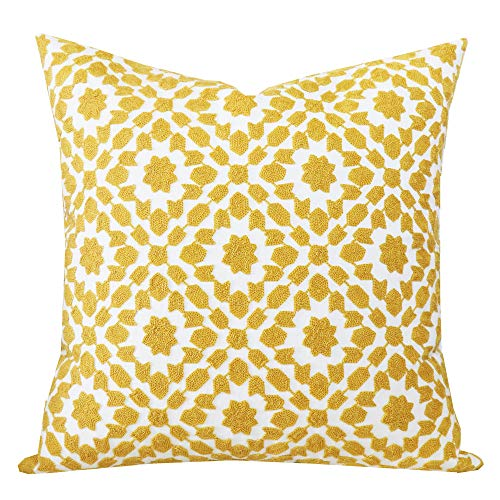 SLOW COW Cotton Embroidery Decor Throw Pillow Cover Yellow Decorative Cushion Cover 18x18 Inches