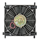 """Flex-a-lite (700032) Remote Mount Stacked Plate 32-Row Engine-Oil Cooler with Electric Fan, 11 x 11 x 1 3/4"""" with AN Fittings"""