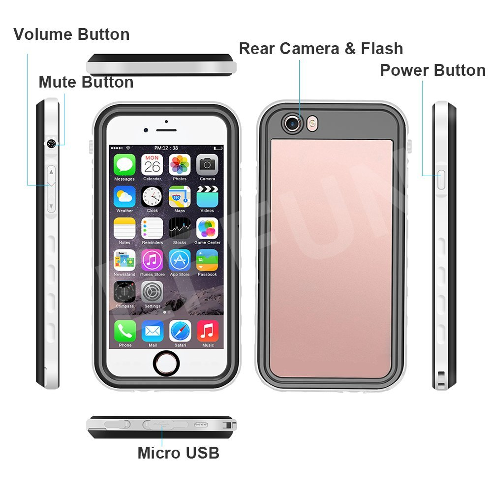 PH Test Paper EFFUN Waterproof iPhone 6//iPhone 6s Case Floating Strap Black//White//Pink//Aqua Blue//Light Blue Stylus Pen IP68 Certified Water//Dirt//Snow//Shockproof Case with Cell Phone Holder