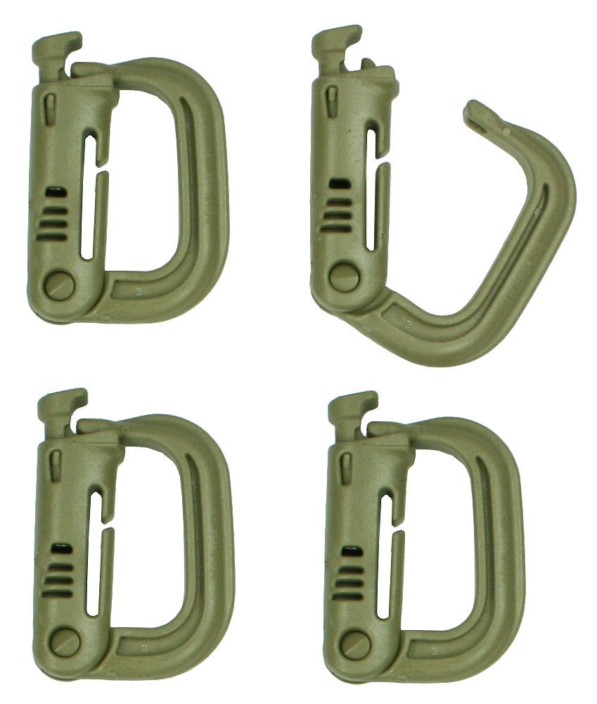 US Military MOLLE Foliage Green 4 Pack Grimloc D-Ring Carabiner ITW Nexus