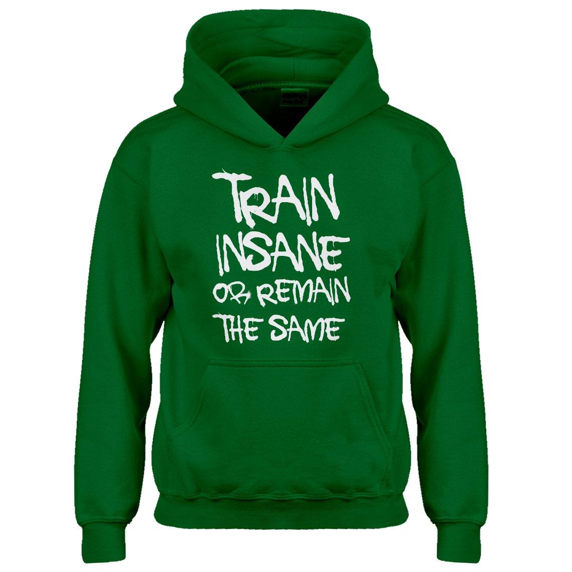 Indica Plateau Kids Hoodie Train Insane Or Remain The Same X-Large Kelly Green Hoodie
