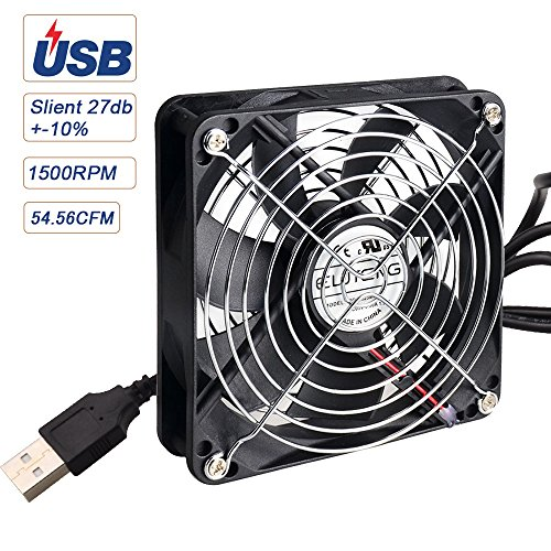 ELUTENG USB Fan 120mm Silent Router Cooling Fan 5V DVR Cooling Blower Mini AV Cabient Cooler Ventilator for Roku Fire Stick Receiver / PS4 / PS3 / XBOX / PC
