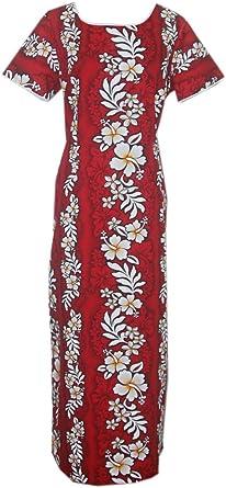 Jade Fashions Inc Womens Hawaiian Hibiscus Red Long Tank Dress