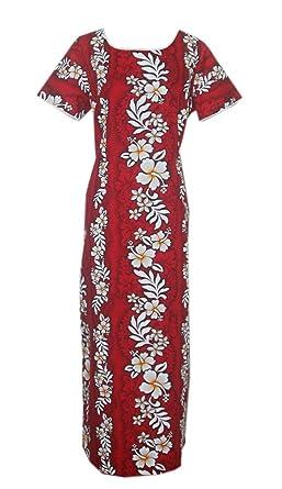 0c21a40846b Jade Fashions Inc. Women Hawaiian Hibiscus Red Long Tank Sleeves Dress at  Amazon Women s Clothing store