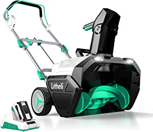 LiTHELi 40V Cordless Snow Blower 20 Inch Electric Snow Thrower with Brushless Motor,Dual LED Lights 180° Rotatable Chute, 4.0 Ah Battery & Charger Included