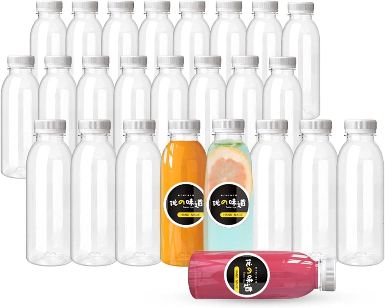 15 Oz Plastic Juice Bottles with Caps, 24 Pack Empty PET Clear Disposable Bulk Plastic drink Bottles with White Tamper Evident Lids (White, 15 OZ)