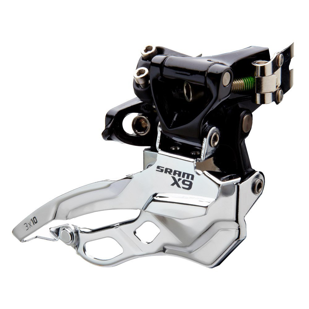 SRAM X9 Bicycle Front Derailleur with 3 x 10 High-Clamp 318 Bottom Pull