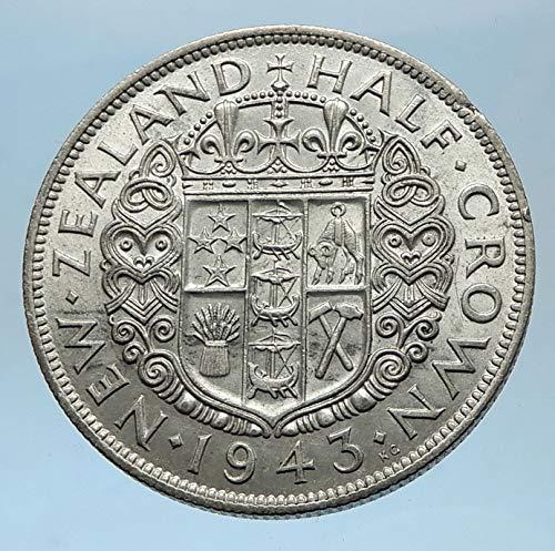 1943 NZ 1943 NEW ZEALAND under UK King George VI AR 1/2 C coin Good