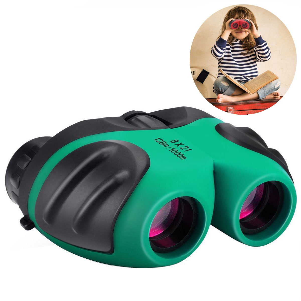 Happy Gift Compact Shock Proof 8x21 Kids Binoculars- Best Gifts for Boys and Girls