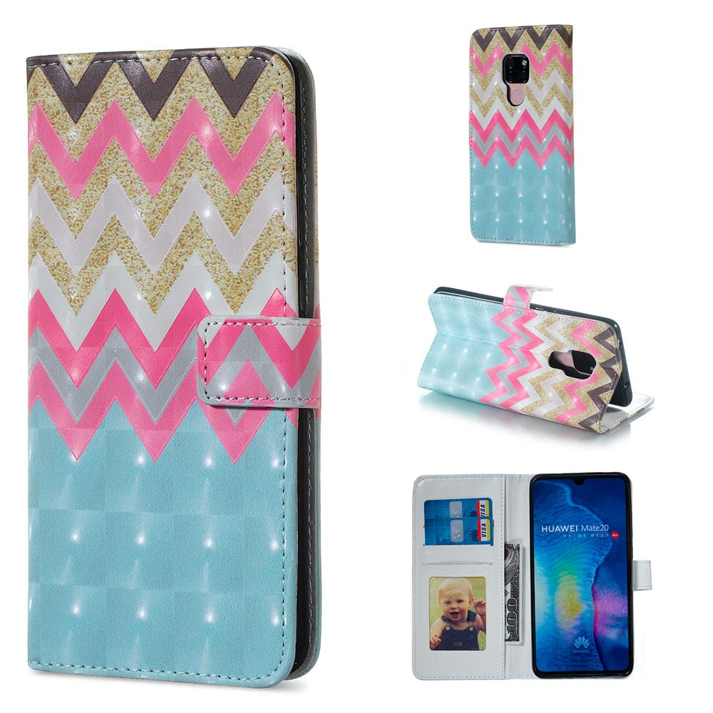 Huawei Mate 20 X Case,Vistore Fancy Colorful Floral Print Wallet Case with Card/Cash Slots [Kickstand] PU Leather Folio Flip Protective Case Cover for Huawei Mate 20 X - White Blue Pattern