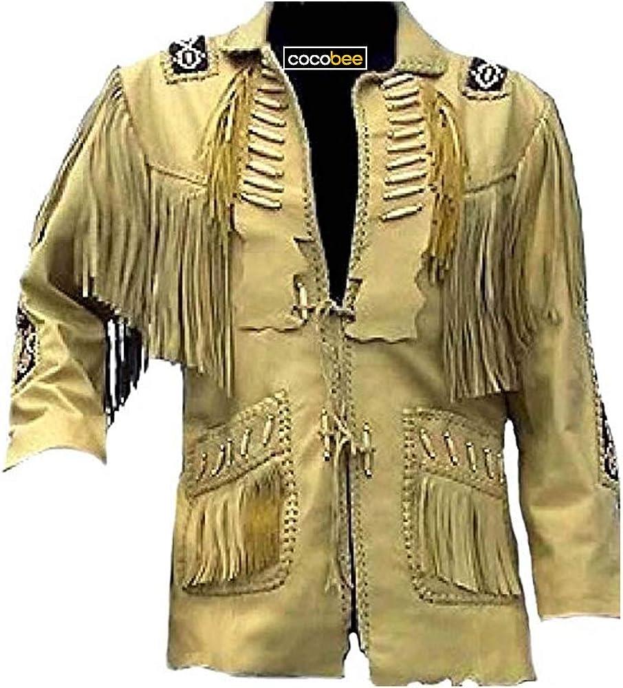 Men/'s Traditional Handmade Cowboy Western Leather Jacket Coat With Fringe Bone and Beads Handmade
