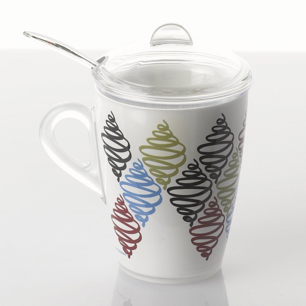 30 cl irrompible y apta para lavavajillas decoraci/ón indeleble l/ínea Plexart Omada Design tisaniera o taza con filtro tapa y cuchara incluidas