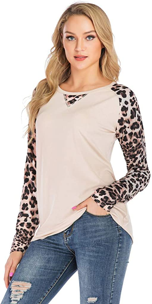 Leopard Print Blouse Tees for Women Miuye Yuren Round Neck Splice Long Sleeve T Shirt Casual Tees Tees