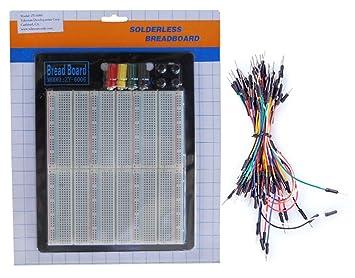 TEKTRUM externo de corriente sin soldadura 2200 Tie-Points experimento plug-in Protoboard con aluminio placa trasera + Jumper Cables para proto-typing ...