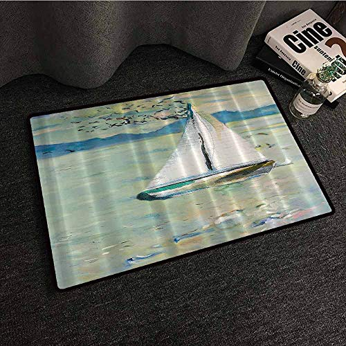 (Art Impressionist Art Prints Oil Paintings Interior Door mat Monet Sailing Boat Yacht with Birds Watercolor Brushstroke for Modern Hard and wear Resistant W35 xL47 Blue Teal White )
