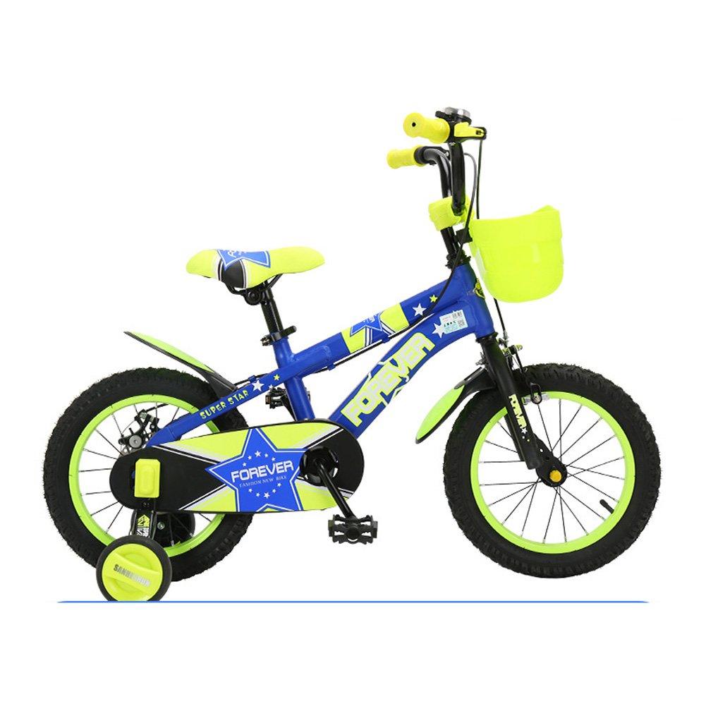 Mariny キッズの自転車2-13歳のユニセックスの子供用自転車12/14/16/18インチのベビーカーキャンパスのトレーニングマウンテンバイク (色 : 青緑色, サイズ さいず : 12