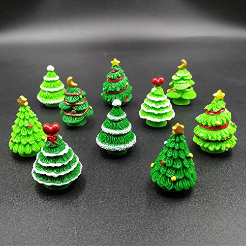 Garden Fairy Doll (EMiEN 10 Pieces Christmas Trees Miniature Ornament Kits Set for DIY Fairy Garden Dollhouse Decoration,5 Different Design, 2 Colors for Each Design)