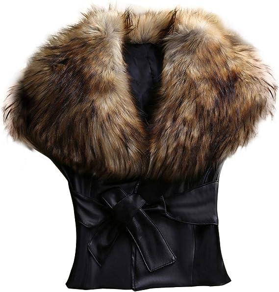 Hankyky Womens Winter Fox Faux Fur Collar PU Leather Vest Slim Short Waistcoat Jacket Outwear Black with Belt S-3XL