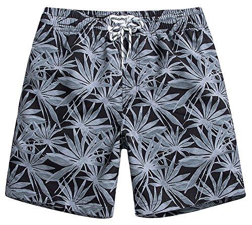 Grey Hawaiian Print Boardshorts - 7