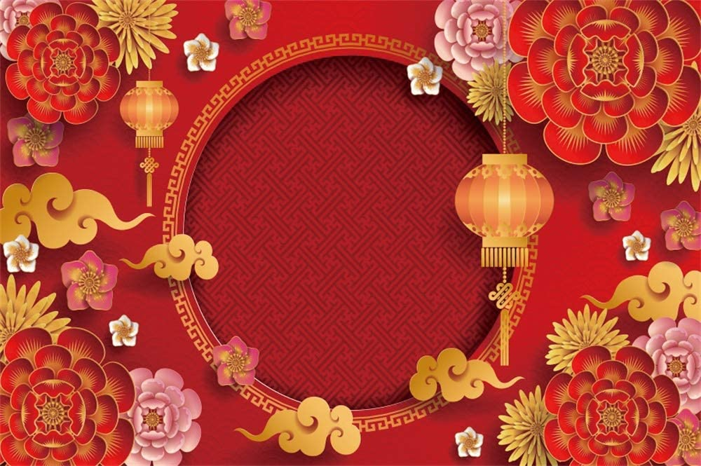 9x16 FT Vinyl Photography Background Backdrops,Modern Autumn Season Wavy Holiday Festival Celebration Oriental Artwork Print Background for Photo Backdrop Studio Props Photo Backdrop Wall