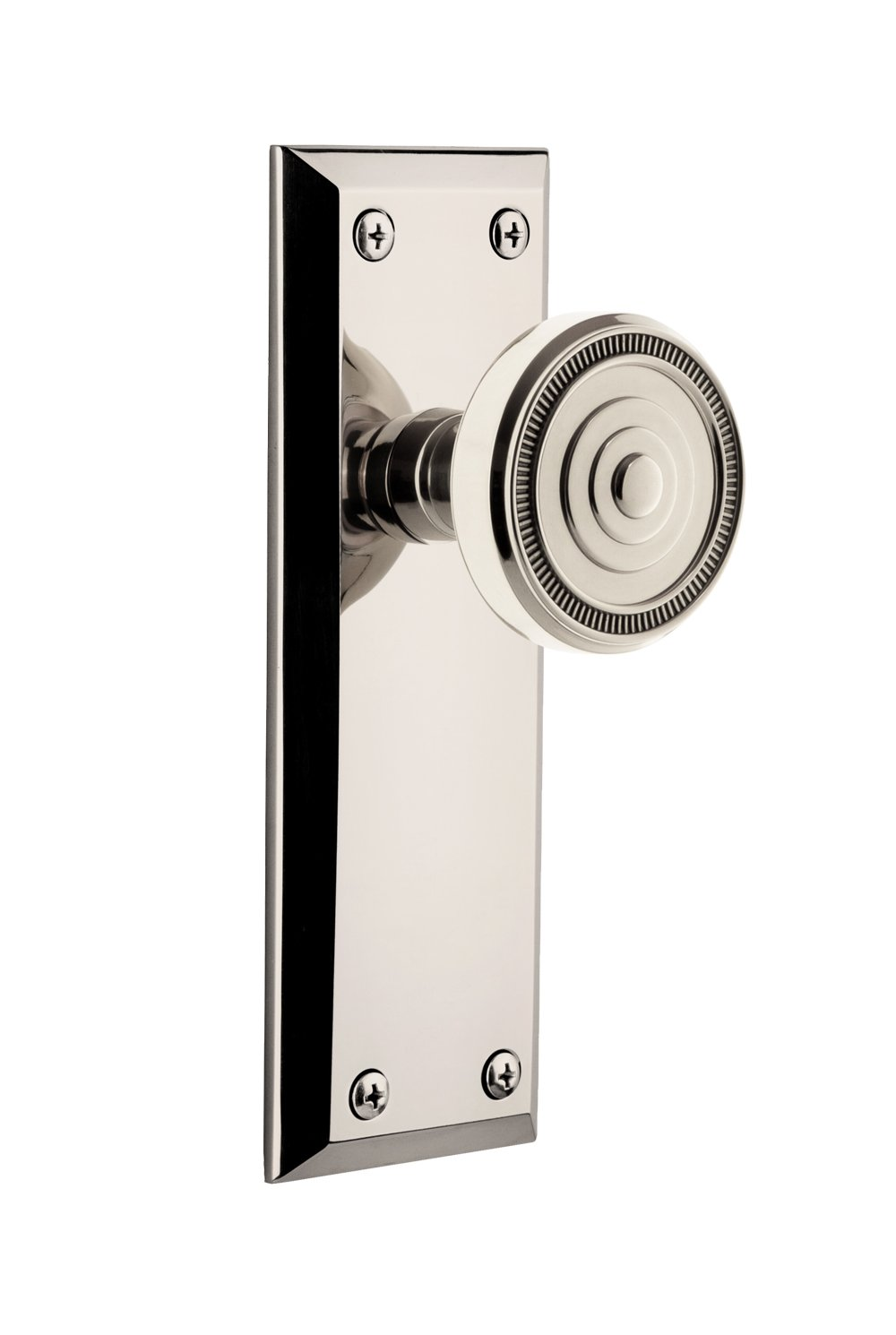 2.375 Grandeur 808117 Fifth Avenue Plate Privacy with Soleil Knob in Polished Nickel