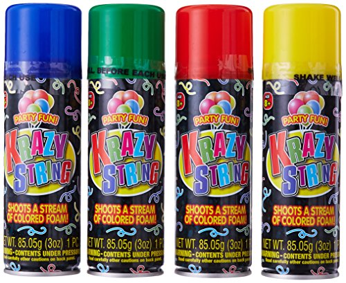 Silly String Streamer (Ja-Ru Krazy String Party Favor Bundle, (Pack of 12))